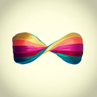 RAINBOW twisted bandeau tube bikini top
