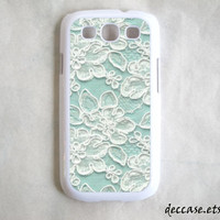 SAMSUNG GALAXY S3 CASE mint Lace Pattern Jasmin flower iPhone 5 case  iPhone 4 case iPhone 4S case iPhone case Hard Plastic Case Rubber Case