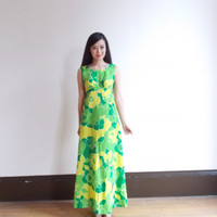 tropical dress / long summer dress / green maxi dress / long maxi dress