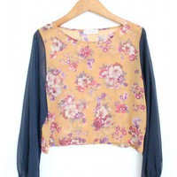 Chiffon Long Sleeve Flower Top