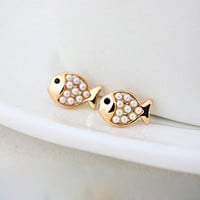 Cute Golden Pearl Fish Stud Earring