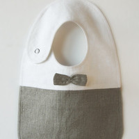 Linen Bib New LHIdea Kids Collection Earth Grey by LovelyHomeIdea