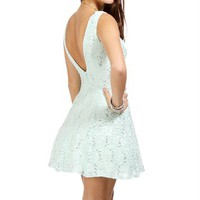 Pre-Order: Elissa-Mint Lace And Sequin Prom Dress