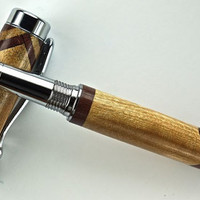 Handcrafted Wooden Pen Rollerball Pen Maple with Purple Heart accents Chrome Hardware 403S