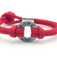 Hope and Love Stamped Paracord Bracelet