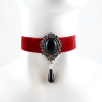 Red Velvet Choker Necklace with Black Onyx Stone Cabochon and Glass Dangle - Sexy, Cabaret, Gothic, Goth, Vampire