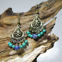 Gypsy Blue Chandelier Beaded Earrings