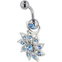 Topaz Blue Daisy Flower Belly Button Ring, Belly Rings, New Year Belly Rings | Pugster.com