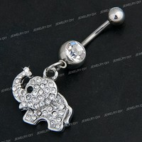 316L Steel Rhinestone Elephant Dangle Navel Belly Button Ring Bar 0.8x0.7""