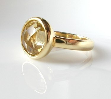 Lemon Quartz 18K Gold Vermeil Oval Bezel Ring - Rings - by MelisJewelry - DaWanda