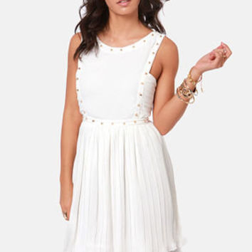 Studding Romance Pleated Ivory Dress