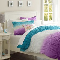 Surf Dip Dye Ruched Duvet Cover + Sham