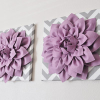 TWO Wall Flowers Lilac Dahlia on Gray and White by bedbuggs