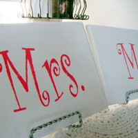 Mrs & Mrs Signs GERMAN GLASS GLITTER  Wedding chair or table signs