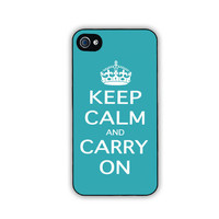 iPhone 4 or 4s case with Keep Calm and Carry On by FineArtDesigns