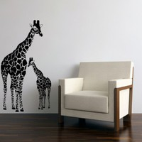 Large Vinyl wall art decal mom and baby giraffes
