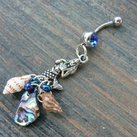 mermaid belly ring mermaid siren blue abalone seashells in beach boho gypsy hippie belly dancer  beach hipster and fantasy style