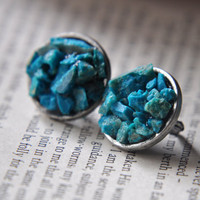 Chrysocolla Chrysoprase Stone Earrings and Ring by FawningInLove