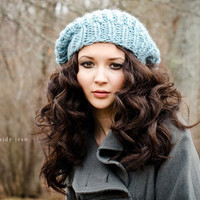 Sale 15 Off  Hand Knit Hat  The Soho Beret in Glacier by pixiebell