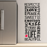 Quote wall decal - Feelings Words - Wall Decals , Home WallArt Decals
