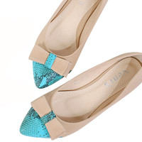Toe pointed bow flat shoes