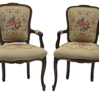 One Kings Lane - French-Style Needlepoint Chairs, Pair
