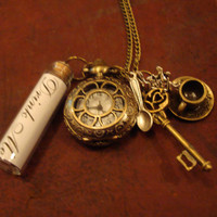 Alice in Wonderland Drink Me Charm Pocket Watch by BaillieDay