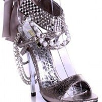 SILVER MULTI FAUX LEATHER JEWEL ANKLE STRAP METAL ACCENT HIGH HEELS