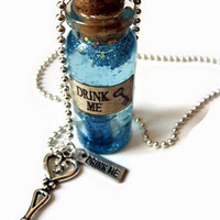 Large Drink Me Glass Vial Necklace Alice In by TheSpangledMaker