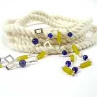 Blue Sodalite and Olive Jade Long Sterling Silver Link Necklace
