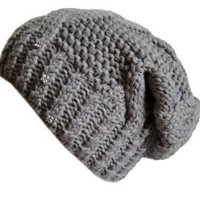 Frost Hats Winter Hat for Women GRAY Slouchy Beanie Hat Knitted Crystal Winter Hat Frost Hats One Size Gray: Clothing