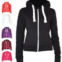 Urban Womens Pull String Zip Hoodies Sweaters: Clothing