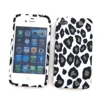 Apple iPhone 4 & 4S Crystal Silicone Skin Case Snow Leopard Design: Cell Phones & Accessories