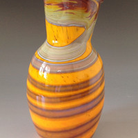 Hand Blown Glass Vase Table Decor Orange and by HorkoverGlass