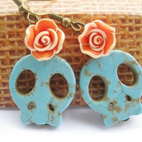 earrings---orange resin rose&blue rammel skull