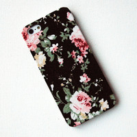 Pink Floral Pattern on Black Fabric iPhone 5 Case by modishlaundry