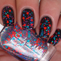 Glitter nail polish - &quot;Bright Young Things&quot; blue, orange, teal glitter nail polish - new 12ml bottle