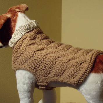 Dog Sweater Hand Knit Woven Cable Rib Soft Taupe Medium by jenya2