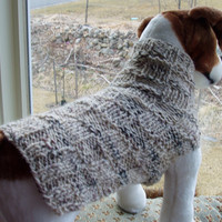 Dog Sweater Hand Knit Checkerboard Tweed Medium Wool by jenya2