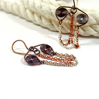 Chain Drape Earrings, Oxidized Copper and Silver, Spiral Motif
