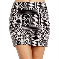 White/Black Tribal Body Con Mini Skirt