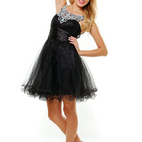 SALE! Black Diamond Mesh Tulle Short Cocktail Dress - Unique Vintage - Prom dresses, retro dresses, retro swimsuits.