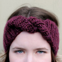 Twisted Knit Headband :: Purple Lilac Twisted Turban Bohemian Knit Headband, Chunky Wool