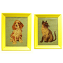 cat and dog portraits, animal wall art, needlepoint, upcycled frames, cats, yellow, kitsch, pet portrait, vintage, siamese cat, dogs
