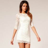 Whole piece milk fiber high quality lace mini skirt 46