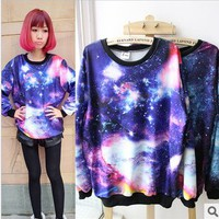 Galaxy Space Starry Print Long Sleeve Sweatshirt 51