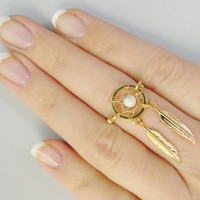 Gold Dream Catcher Ring with Feathers and White by MidnightsMojo