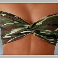 Camo Bandeau Top - Spandex Bandeau - Bandeau - Camouflage