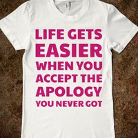 Life Get's Easier-Female White T-Shirt