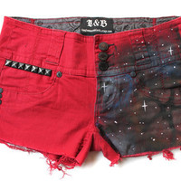 Etsy Transaction -        galaxy cut off shorts - red
